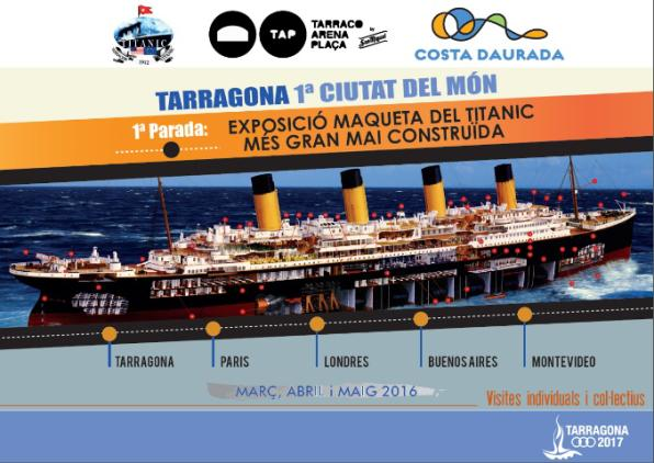 The giant model of the Titanic is presented in Tarragona